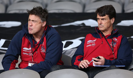 Melbourne's manager of player personnel and coach Paul Roos at last year's draft camp. Photo: Getty