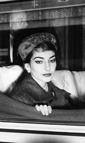 Opera diva Maria Callas on train in Rome in 1958. Photo: AAP
