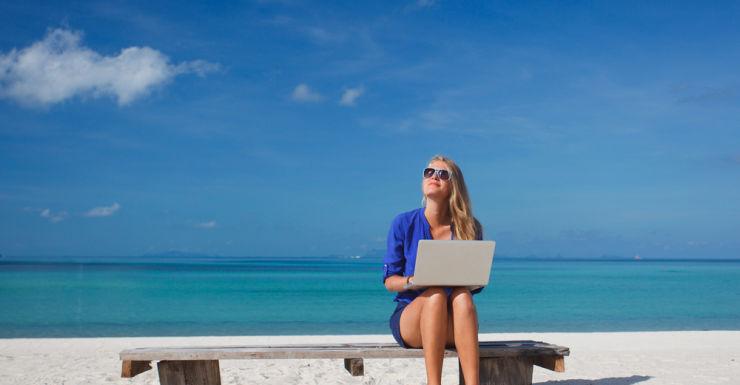 career change, beach, laptop, woman