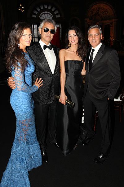 Veronica and Andrea Bocelli with Amal Alamuddin and George Clooney at the Celebrity Fight Night in Italy earlier this month.