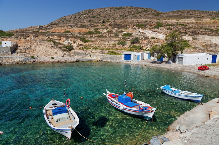 A boat-filled inlet on Kimolos Island. Photo: Shutterstock