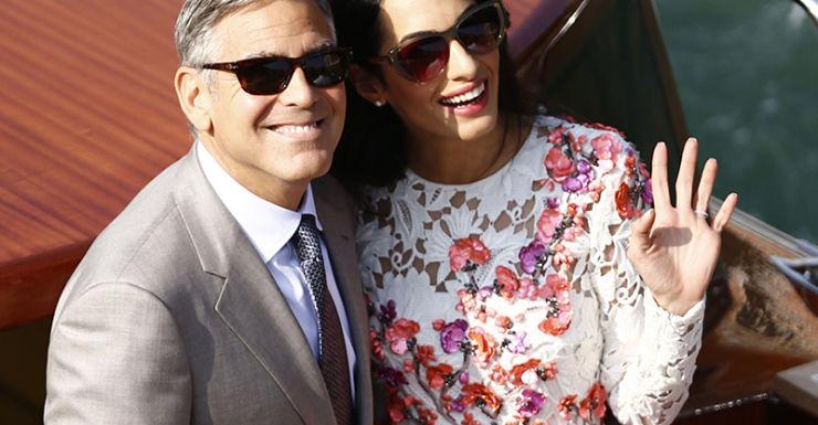 Amal Alamuddin and George Clooney after their Italian wedding.