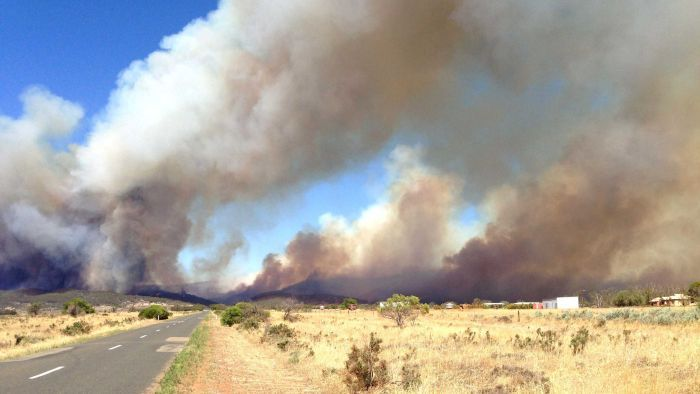 Smoke rises over SA early this year from a bushfire in the Bangor area.