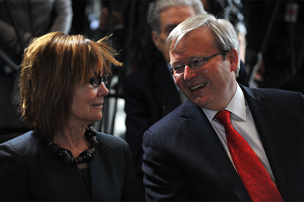 Author Jenny Hocking and former Prime Minister Kevin Rudd at the Gough Whitlam: his Time launch in 2012. Photo: AAP
