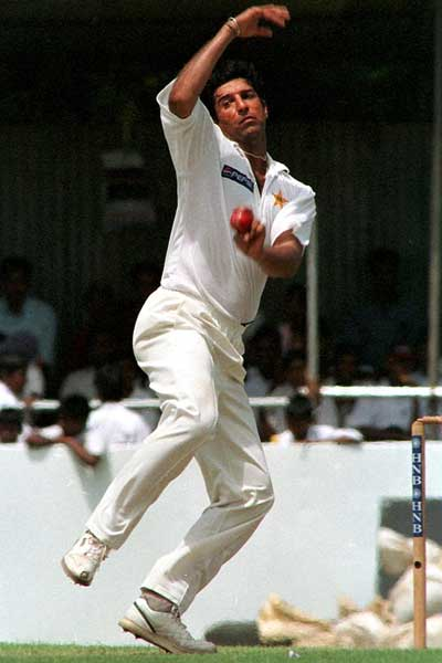 Wasim Akram in full flight. Photo: Getty