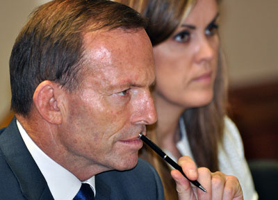Tony Abbott and chief of staff Peta Credlin. Photo: AAP