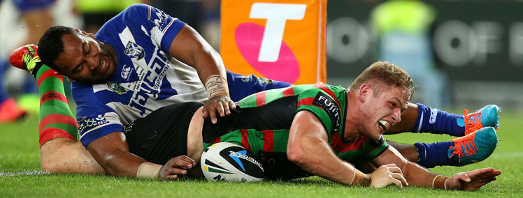 56th minute: George Burgess goes over for a barnstorming try. Photo: Getty