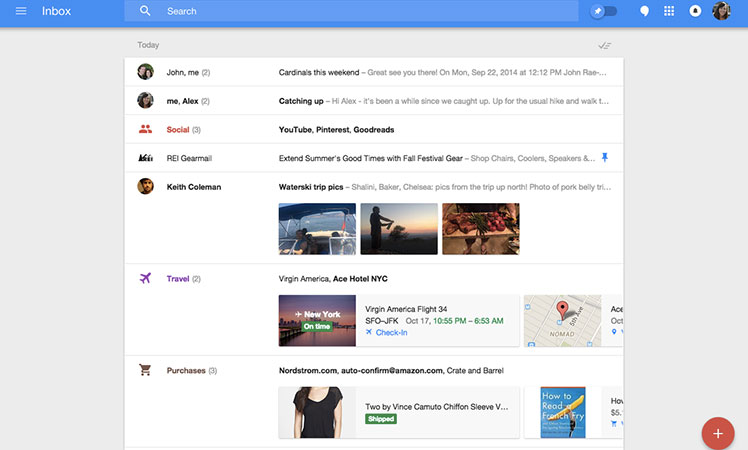 The new look Google Inbox.