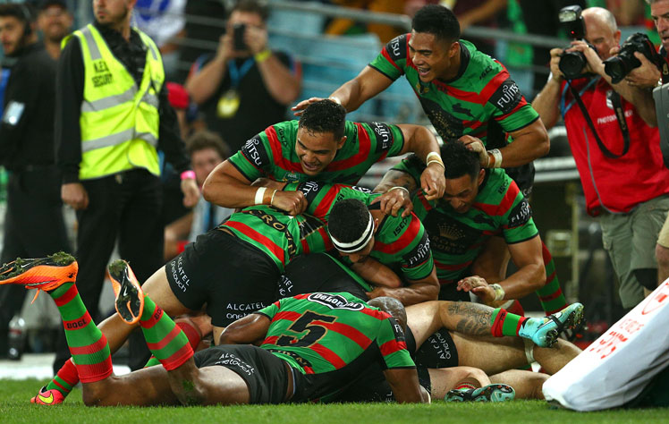 80th minute: Greg Inglis' try was the icing on the Rabbitohs cake. Photo: Getty