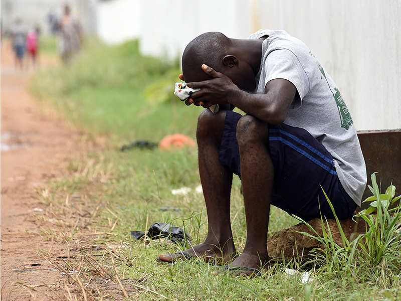 Getty. Suspected Ebola sufferer in Monrovia on October 2