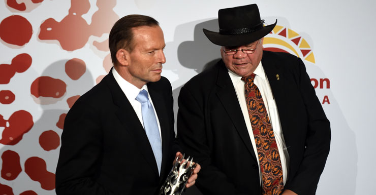 Professor Mick Dodson (R) with Tony Abbott at the Indigenous Governance Awards.