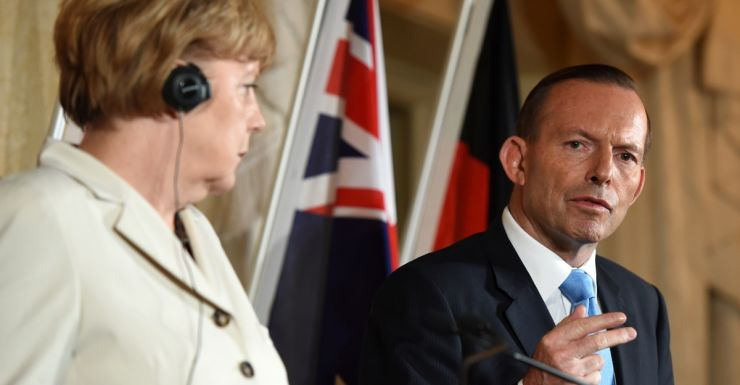 Tony Abbott and German Chancellor Angela Merkel