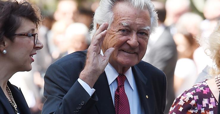 Former Labor Prime Minister Bob Hawke at Gough Whitlam memorial service