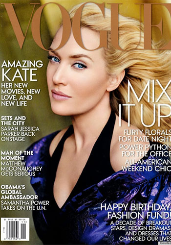 Kate Winslet's 2013 Vogue Cover was criticised for the heavily Photoshopped images. Photo: Vogue