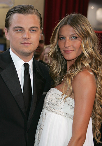 With his former partner Brazilian supermodel Gisele Bundchen at the 2005 Oscars.  Photo: Getty