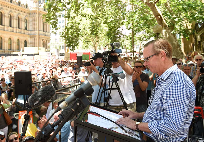 ABC budget cuts rally Quentin Dempster