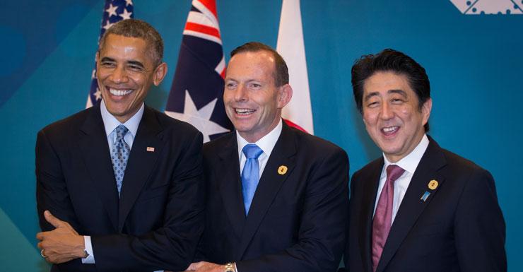 Barack Obama, Tony Abbott and Shinzo Abe