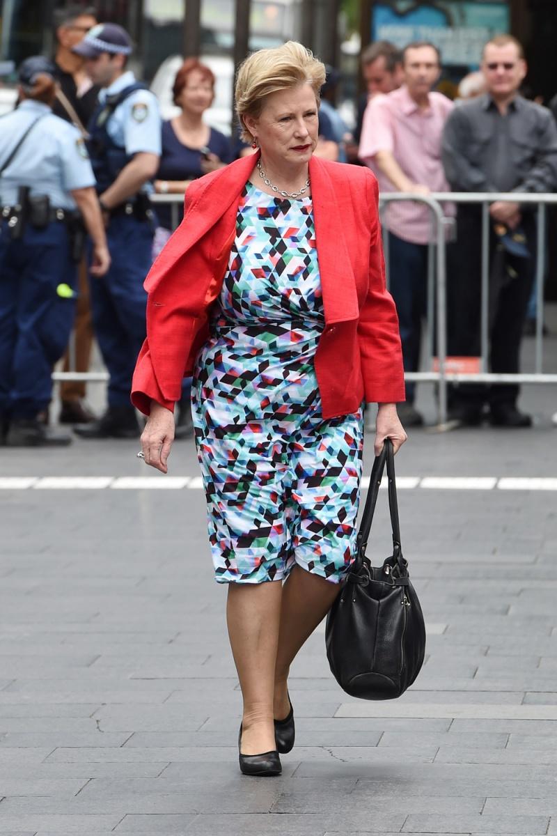 Greens leader Christine Milne arrives at the Gough Whitlam service.