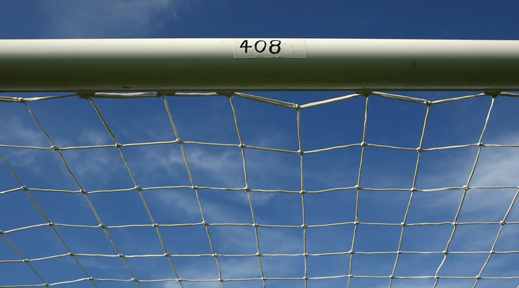 The test playing number of Phillip Hughes on the crossbar in the A-League match between Western Sydney Wanderers and Sydney FC. Photo: Getty