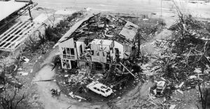 A house on the outskirts of Darwin which was wrecked by Cyclone Tracy.