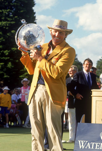 Back in the day: Greg Norman after winning the 1991 Masters. Photo: Getty