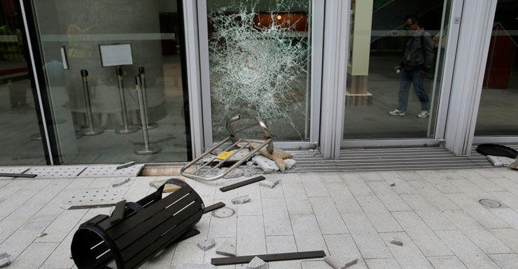 Broken glass is seen at the Legislative Council in Hong Kong.