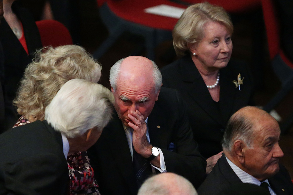 Former prime ministers John Howard and Bob Hawke speaking at the memorial.