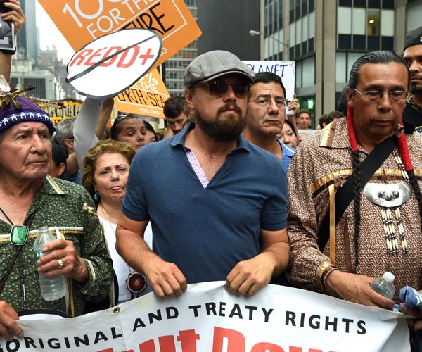 Leonardo DiCaprio during a climate march in New York.