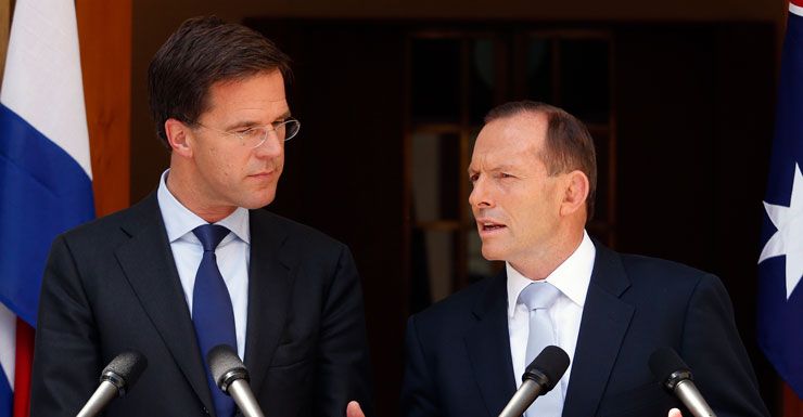 Prime Minister of The Netherlands Mark Rutte (L) and Australian PM Tony Abbott