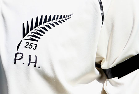 The New Zealand players paid tribute on their shirts. Photo: Getty