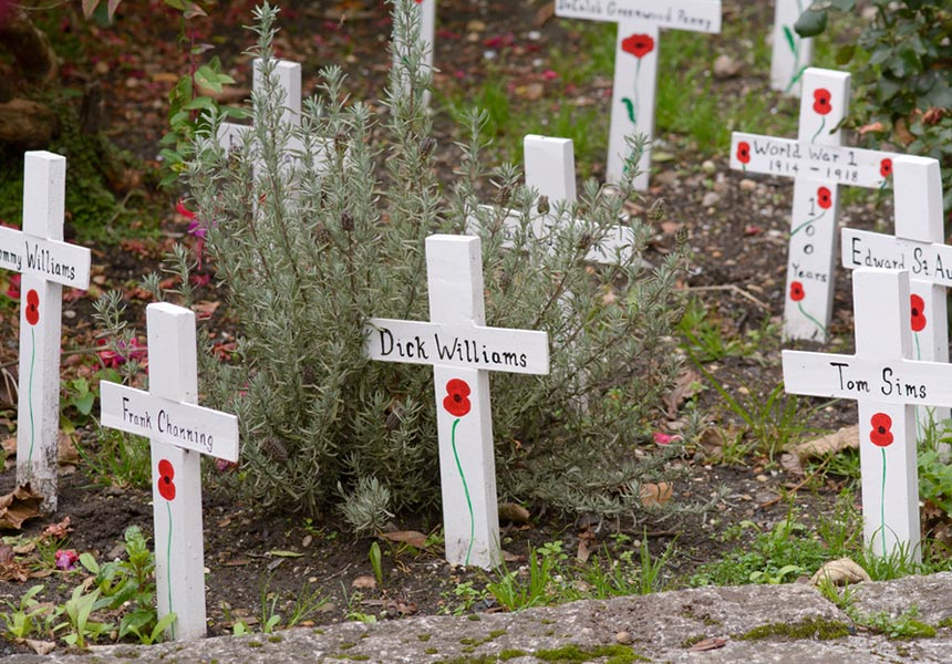 Red poppies at graves of war dead