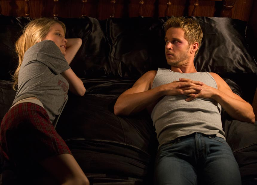 Ryan Kwanten films with castmate Ashley Hinshaw.