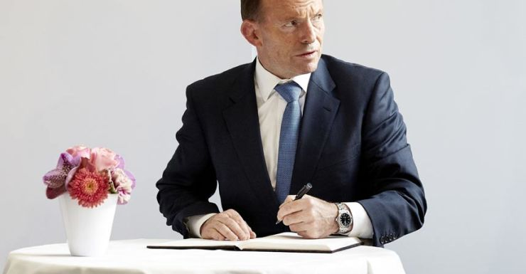 Tony Abbott left handed