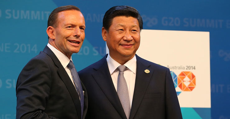 Australian Prime Minister Tony Abbott and China's President Xi Jinping.