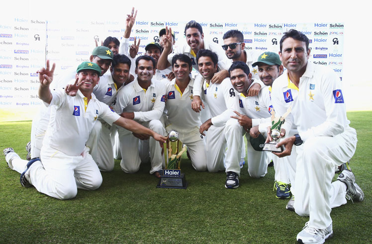 The unsung Pakistani side celebrates its thumping series win over the Australians. Photo: Getty