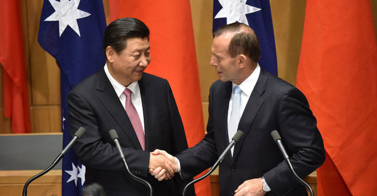 China's President Xi Jinping and Australia's Prime Minister Tony Abbott.