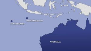 Map showing the location of the Cocos Islands off the WA coast.