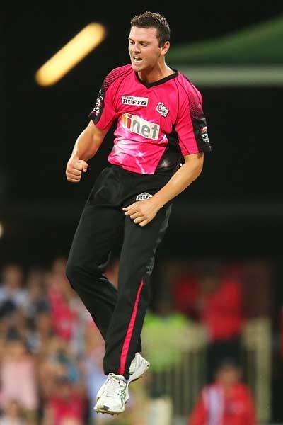 Josh Hazlewood enjoys a wicket. Photo: Getty