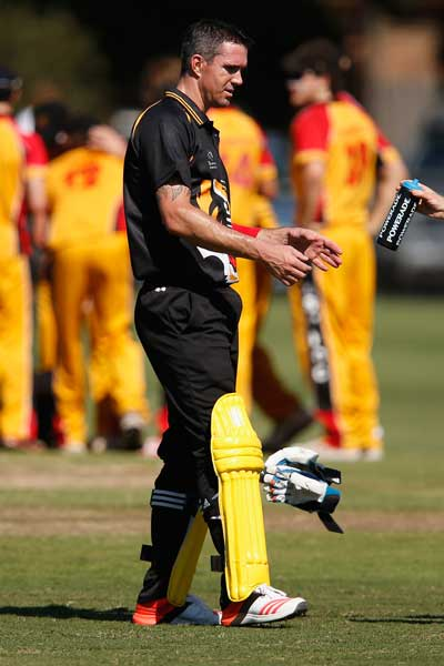 Kevin Pietersen during his hit out with the Monash Tigers. Photo: Getty