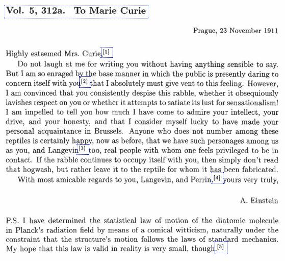 Alber Einstein letter to Marie Curie