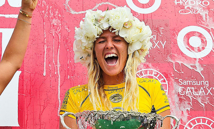 Gilmore celebrates her sixth ASP World Title.