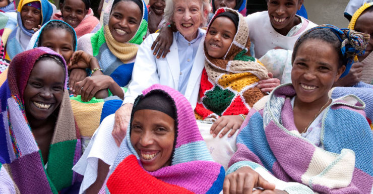 Dr Catherine Hamlin with some of her patients in Ethiopia.