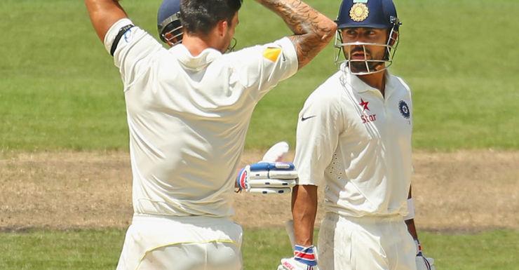 Virat Kohli lashed Johnston with tongue and bat.