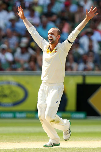 Nathan Lyon grabbed a couple of late wickets. Photo: Getty