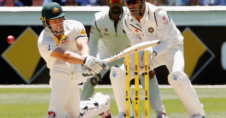 Shane Watson is trapped lbw for 52.