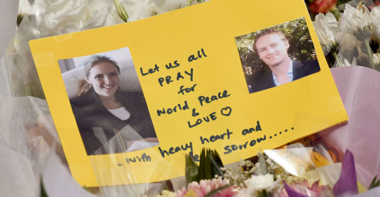 A card for the two hostages killed in the siege at Martin Place.
