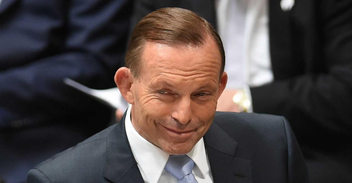 Tony Abbott smirk grin. AAP