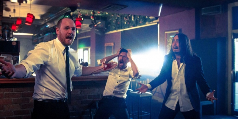 Broden (left) and the Aunty Donna boys have a handy mobile banking tip to avoid night out blow-outs