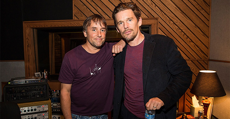 Boyhood's creator Richard Linklater, with  Ethan Hawke, is the director of the moment and looks a certainty to win the Best Director OScar. Photo: Getty