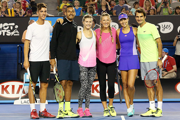 Among equals: Would Federer (far right) ever be asked about anything other than Tennis after a win? Thanasi Kokkinakis, Nick Kyrgios, Eugenie Bouchard, Victoria Azarenka, Ana Ivanovic and Roger Federer at the Australian Open's Kids Day.